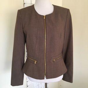 Calvin Klein Dress Jacket Zip Up Brown Peplum 8